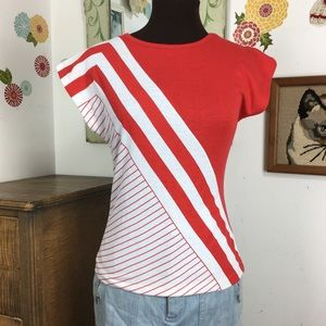 Vintage Gitano T-Shirt Red Stripe Boat Neck  Tee